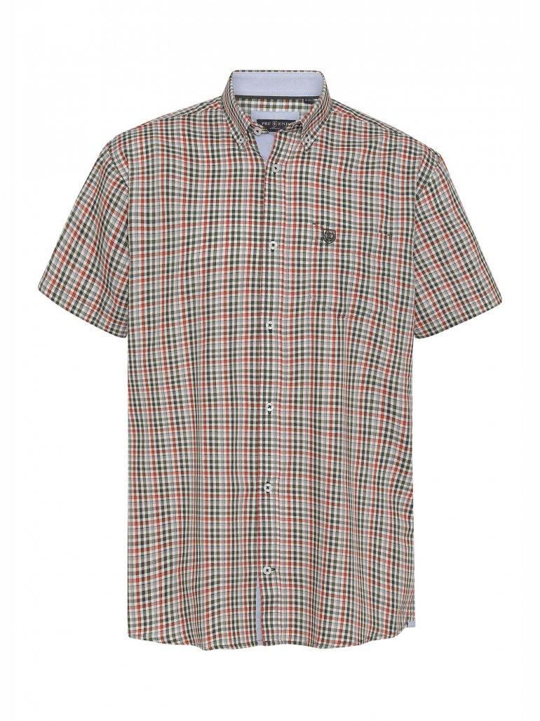 Pre End - Rome kortærmet skjorte i mørkegrøn - Til herre - Størrelse: XL